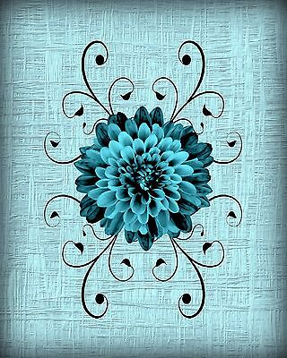 Teal Black Flower Home Decor Wall Art Photo Print Floral Flourish Picture Matted