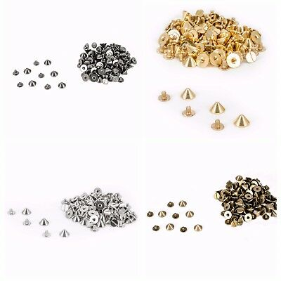 50 x Gold Punk Spike Cone Screw Back Studs/Rivets in 9.5mm x 6mm - UK SELLER