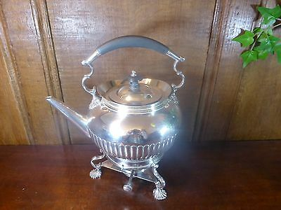 EXCELLENT HUKIN & HEATH silver plated TEA KETTLE on STAND with BURNER no chains