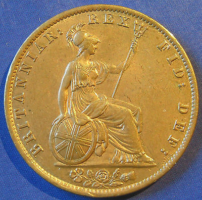 1837 ½d William IV copper Halfpenny in a delightful aUNC