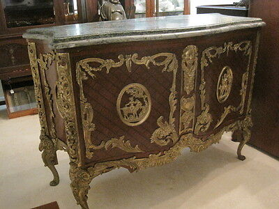 Heavy Brass Ormolu 2 door Bombay Chest with Marble Top