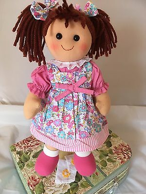 Personalised Rag Doll Alice Christening. New Baby. Flower Girl 34 cms Ragdoll