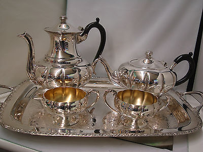 Tea and Coffee Set Marlboro Silver Plate with Cream, Sugar and Tray Lot of 5