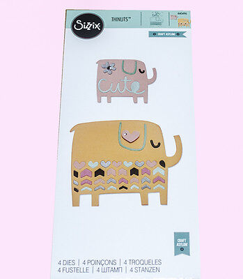 Sizzix Thinlits Die 4 piece Elephant Duo 660496 sweet die cutter craft cards new