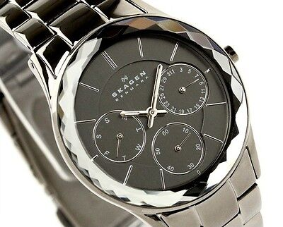 NEW Skagen Women's 344LMXM Stainless Steel Charcoal Dial Watch