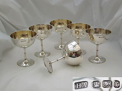 RARE VICTORIAN Set of 6 HM STERLING SILVER CHAMPAGNE GOBLETS 1895