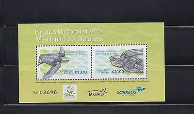 Costa Rica 2016 Turtles sheet of 2   MNH