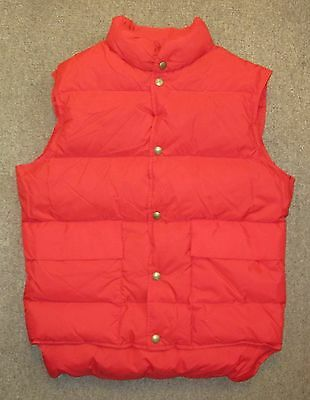 Vintage LL BEAN Goose Down Snap Button Red Puffer Vest w/ Front Pockets Mens S