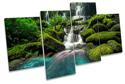 Stunning Forest Waterfall CANVAS WALL ART Four Panel Print