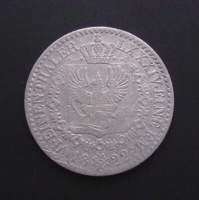 German States Prussia 1/6 Thaler 1822 A Silver Coin