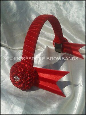 """New All Red Show Velvet Browband pony cob full size 3/4"""" OR 1"""" wide"""