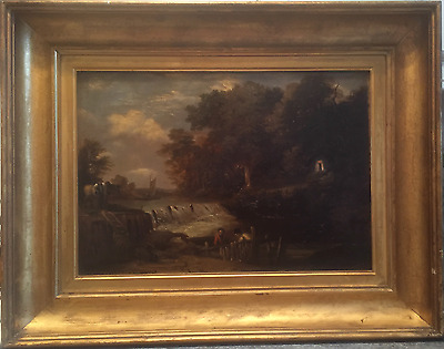 Antique Oil Painting On Board 19Th Century Victorian Landscape