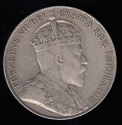 1906 Half Dollar / Fifty Cents - Silver Canadian Coin