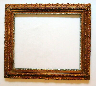 Antique Gold Silver Wood Gesso Ornate Picture Frame 31 x 27 OPEN