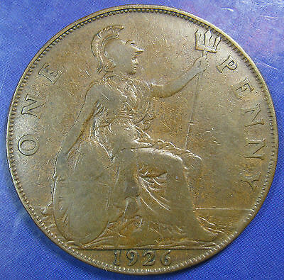 1926 ME 1d George V Modified Head bronze Penny - a Very Scarce coin
