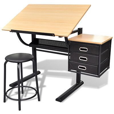 Tiltable Tabletop Drawing Artist Draft Table w/ Stool Home Office Three Drawers