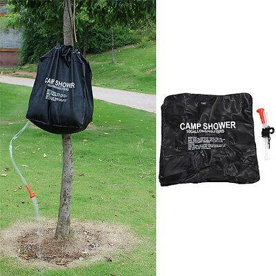 40L Outdoor Hiking Folding Solar Camp Shower Water Bathing Bag Black 10 Gallons