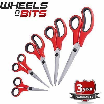 Household 5 Pc Stainless Steel Scissors Set Tailoring Home Office DIY Soft Grip