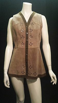 Vintage 1970's Real Suede Waistcoat SIZE: UK 6 8 10 Hippy 60's Boho Light Brown