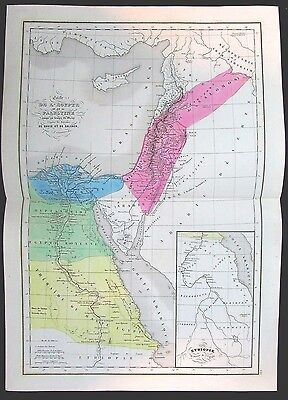 Ancient Egypt Palestine Israel Salomon & David c.1855 original hand color map