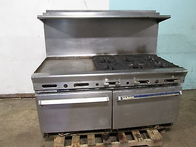 """US RANGE"" HD COMMERCIAL NAT. GAS 6 BURNERS STOVE w/23""x 21"" GRIDDLE + 2 OVENS"