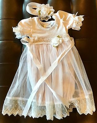 Christianing White Gown With Headband - 3 Month