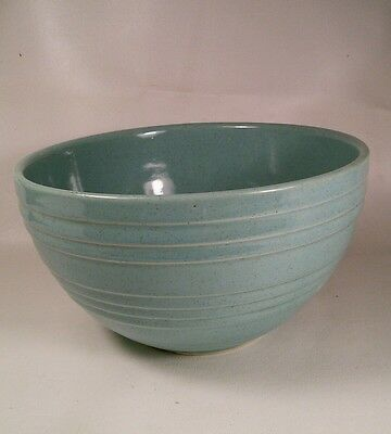 Vtg McCoy Pottery Crock Stoneware Aqua Blue Speckled Ovenware Mixing Bowl