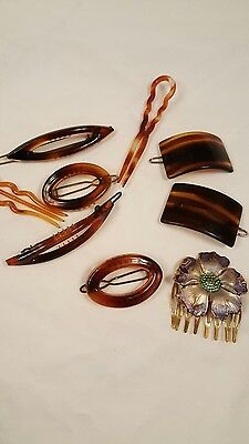 Vintage Hair Pins Barrettes Faux Tortoise Shell Lot