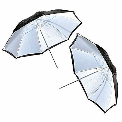 2x 43 in White Satin Umbrella with Reflective Silver Backing and Removable Black
