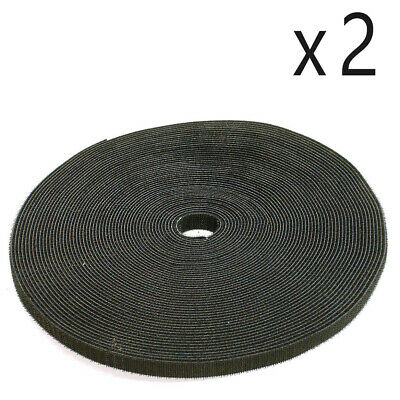 """2 Pack Lot - 1/2"""" Roll Hook and Loop Reusable Cable Ties Wraps & Straps 25M 80ft"""