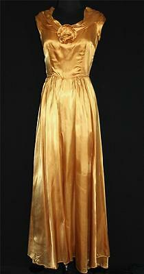 Very Rare Vintage 1950's Gold Rayon Fluid Gold Satin Long Flowing Gown Size 6+