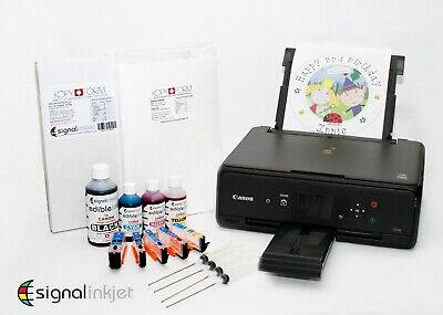EDIBLE PRINTER KIT with Refillable Cartridges, Ink, 50 Wafer, 25 Decor Paper