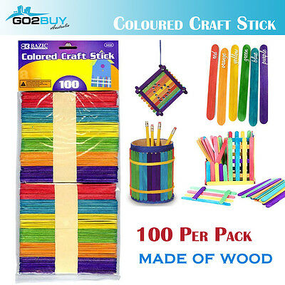 School Kids Popsicle Wood Colored Craft Sticks, Assorted, 100 Per Pack Decor