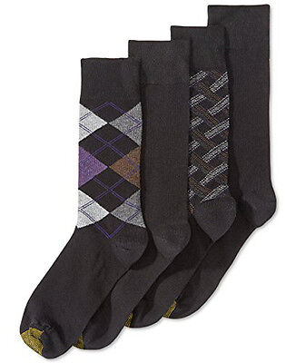 New Gold Toe 4-pk Combed Cotton Black Argyle Solid Crew Dress Socks Size 10-13