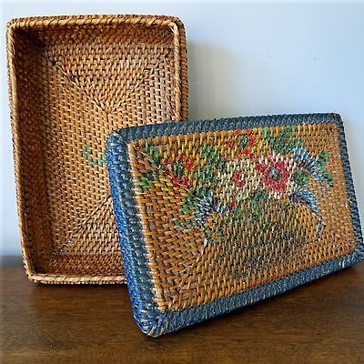 Antique ViICTORIAN Woven Wicker PAINTED Sewing BASKET +LID Flower Motif FABULOUS