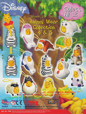 Disney Winnie the Pooh Animal Wear Collection 4 & 5 -Tomy 12 PEZZI