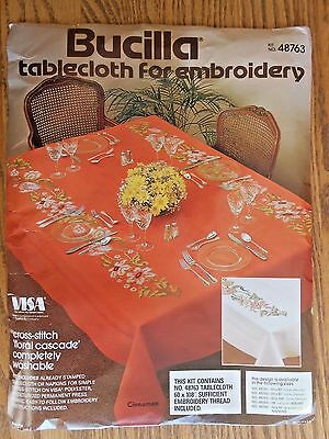 BUCILLA STAMPED FOR EMBROIDERY TABLECLOTH KIT, FLORAL CASCADE 60 x 108