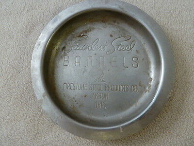 Vintage Firestone Stainless Steel Products Company Ashtray Akron Ohio Rare Promo
