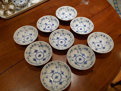 9 Royal Copenhagen cereal bowls 1/2302 first quality Blue Fluted Plain LOT of 9