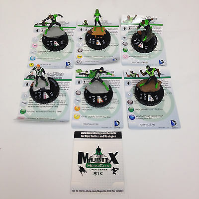 Heroclix War of Light lot of ALL 6 Green Lantern Limited Edition figures w/card!