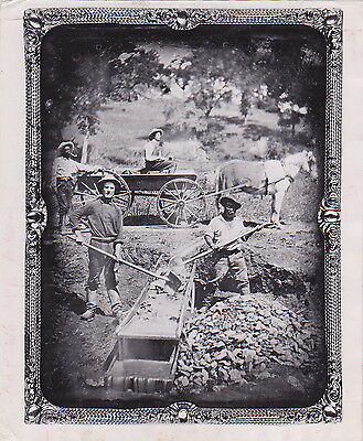 GOLD MINING Near SPANISH FLAT California 1852 daguerreotype African-Americans