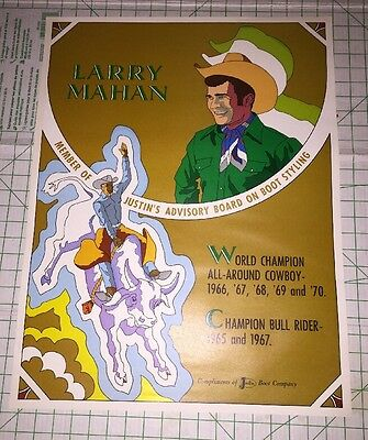 Rodeo Cowboy Larry Mahan Justin Boots Vintage Poster Ad Peter Max Style