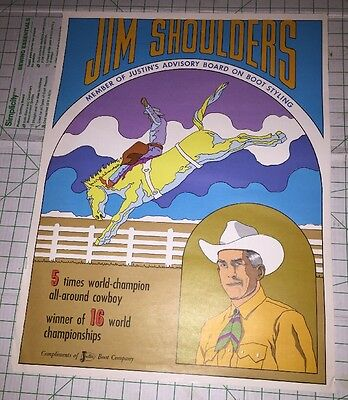 Rodeo Cowboy Jim Shoulders Justin Boots Vintage Poster Ad Peter Max Style