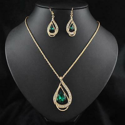 Crystal Chain Jewelry Sets 18k Gold Plated Necklace Earring