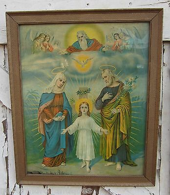 F. Leiber CHROMOLITHOGRAPH The Holy Family Late 1800's Trinity Catholic Mary