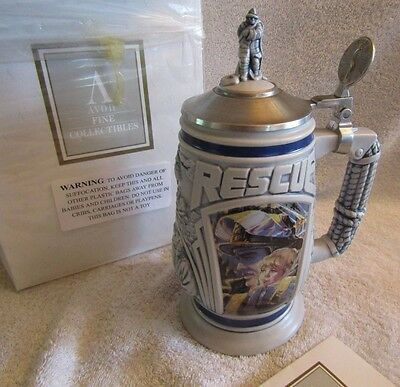 "1997 Avon ""TRIBUTE TO RESCUE WORKERS "" Beer Stein Ceramic Brazil #42095 NIB"