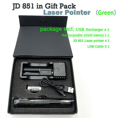 10 Mile JD 851 Green Red Laser Pointer 1mW 532nm 16340 Rechargeable USB CHARGER