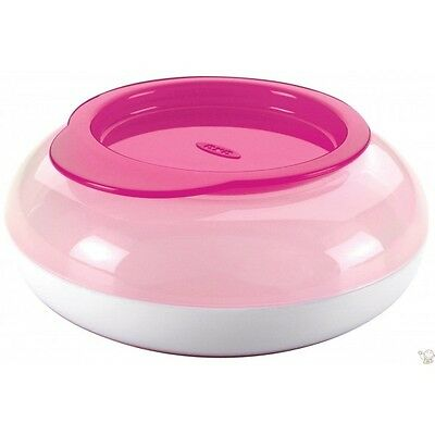 Oxo tot Snack Disk PINK with snap lid. Curved shape to help fingers. From Aus