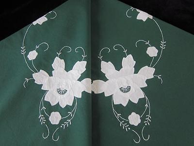 Vintage Tablecloth Appliqued & Embroidered White Roses on Dark Green Cotton