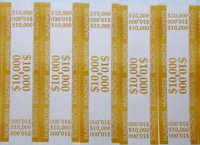 100 - Mustard $100 Self-Sealing Currency Bands $10,000 Cash Money Straps Hundred